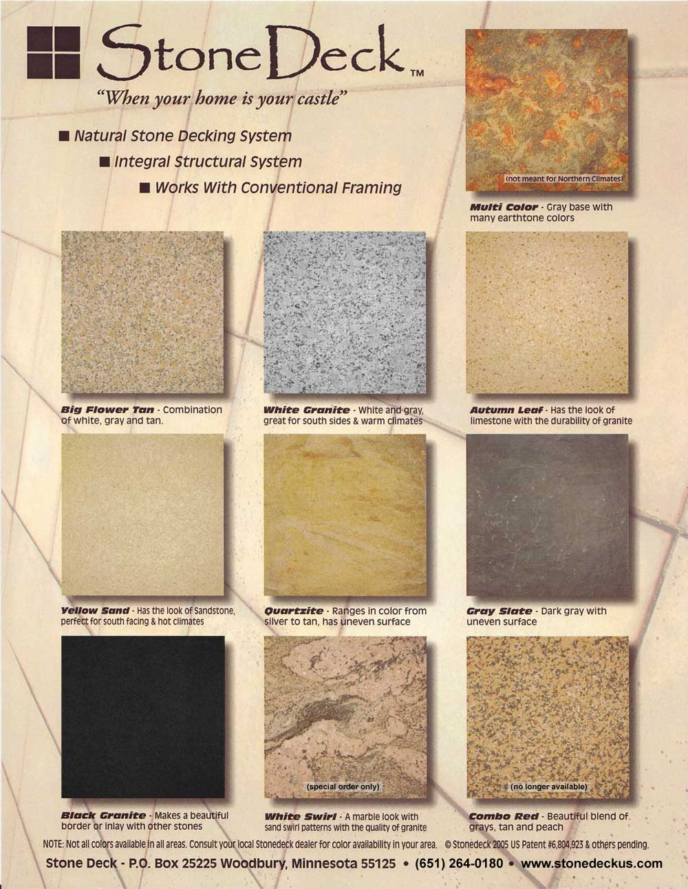 StoneDeck Color Chart
